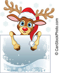Reindeer Sign - Christmas reindeer holding blank sign