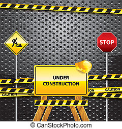 Under construction grunge background with warning symbols