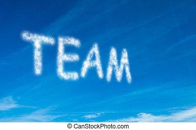 Team written in white in sky