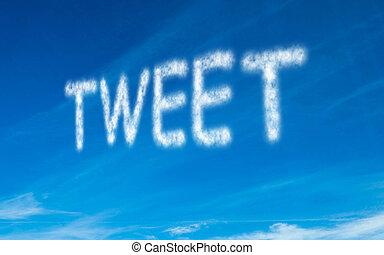 Tweet written in white in sky