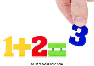 Simple math example with numbers on the white background