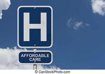 Hospital and Affordable Care - An American blue road sign...