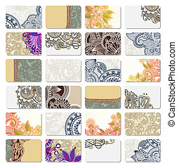 ornamental business card - collection of colorful floral...