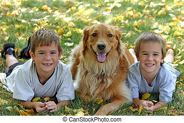 Boys with Dog in Fall