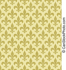 Yellow Fleur De Lis Textured Fabric Background that is...