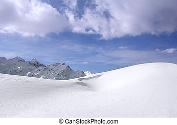 Snowdrift - Great snow dunes and clouds in the background in...