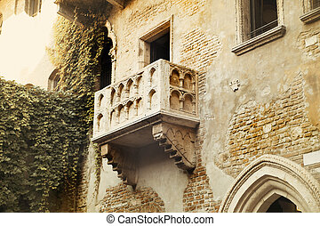 Famous balcony of Romeo and Juliet in Verona, Italy
