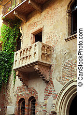 Famous balcony of Romeo and Juliet in Verona, Italy - The...