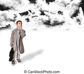 child looking out with black cloud and white space