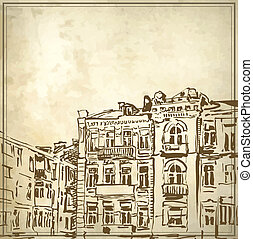 Sketchy drawing of historical building in grunge background....