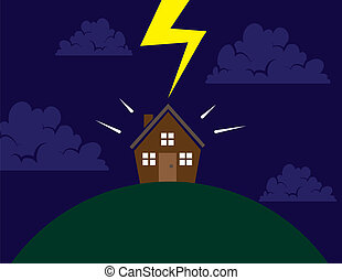 House on hill lightning - House on a hill hit by lightning