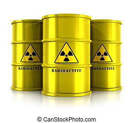 Yellow barrels with radioactive waste - Creative abstract...