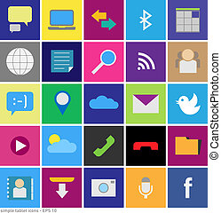 Set of icons in the style tablet s - vector graphic - set of...