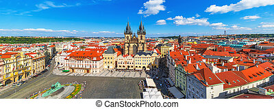 Panorama of the Old Town Square in Prague, Czech Republic -...