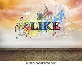 Like written over color splashes