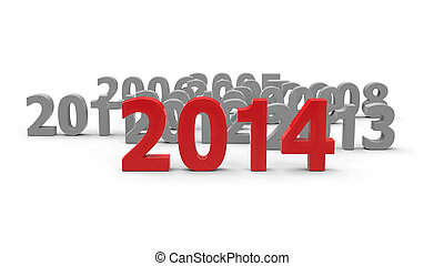 2014 come represents the new year 2014, three-dimensional...