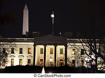 White House Washington Monument Pennsylvania Ave Night...