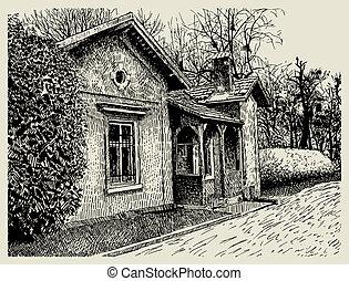 hand drawing sketchy artistic village landscape