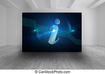 Room with futuristic picture of information icon