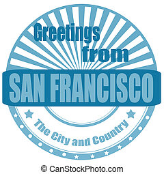 Greeting from San Francisco - Label with text Greeting from...