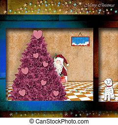 ENGRAÇADO,  Claus, Partindo, Presentes,  santa, Natal, cartão