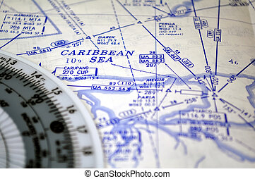 Air navigation: map of the Caribbean Sea - Air navigation...