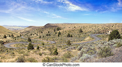 Winding Road in Central Oregon Panorama