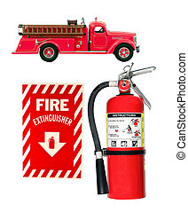 fire emergency equipment as firetruck, extinguisher, and...
