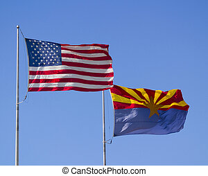 U.S. and Arizona Flags - The flags of the United States and...