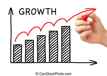 Growth Graph - Male hand sketching Growth Graph with marker...