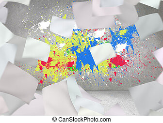 White paper in front of grey wall with splashes