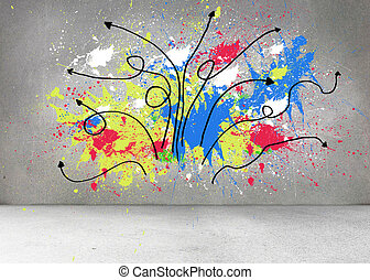 Grey wall with arrows and splashes