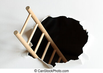 Escape - Wooden ladder inside black hole in white background