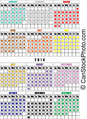 MOST SIMPLE CALENDAR 2014 colored months letter