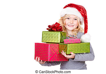 Child holding a stack of Christmas presents
