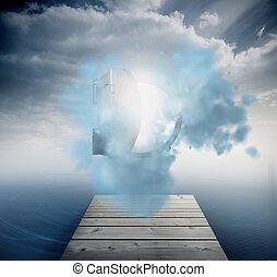 Open safe in sky over ocean