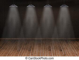 Dark room with floorboards