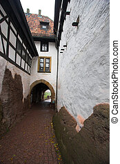 Castle passage - White walls and passage in Wartburg castle