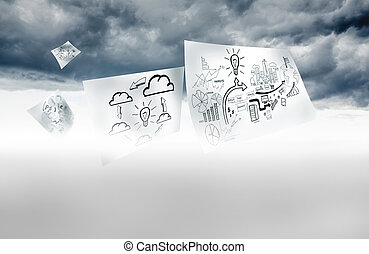 Sheets with graphic over sky background