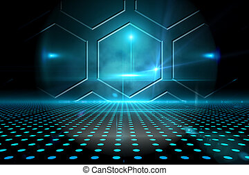 Technological black and blue background