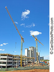 tower cranes operating on construction site in Umhlanga...