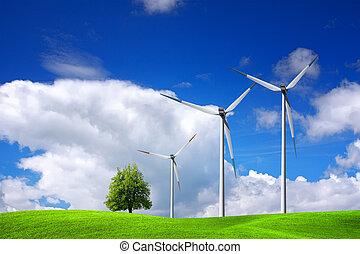 Wind turbines on blue sky