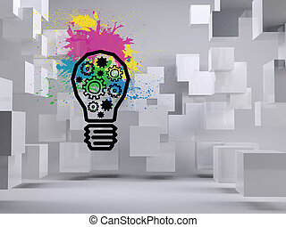 Light bulb with cogs on background with cubes
