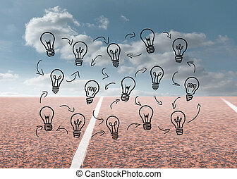 Light bulbs with arrows over running track