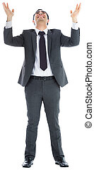 Happy  businessman with arms raised