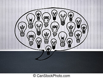 Light bulbs graphic in empty grey room