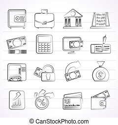 Bank, business and finance icons - vector icon set