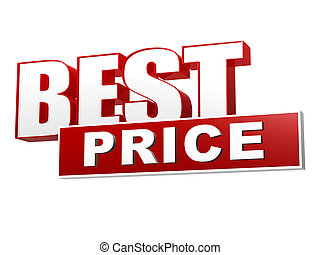 best price in red white banner - letters and block - best...