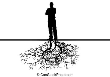 Person - The person with roots from feet on a white...