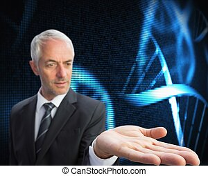 Composite image of concentrated businessman with palm up...